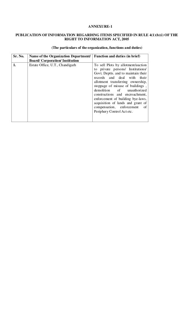 ANNEXURE-1PUBLICATION OF INFORMATION REGARDING ITEMS SPECIFIED IN RULE 4(1)(b)(i) OF THERIGHT TO INFORMATION ACT, 2005(The...