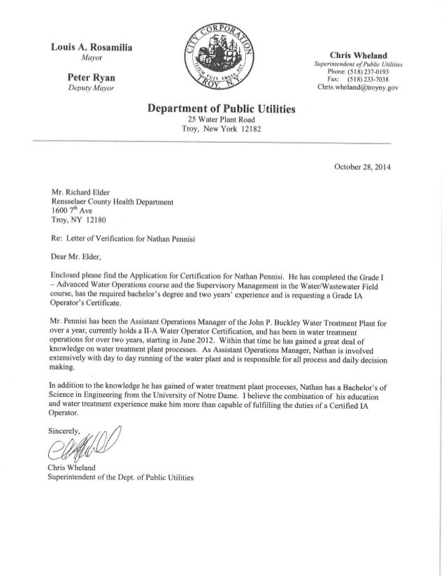 Letter Of Recommendation For Ia Filtration Plant Water System Operator