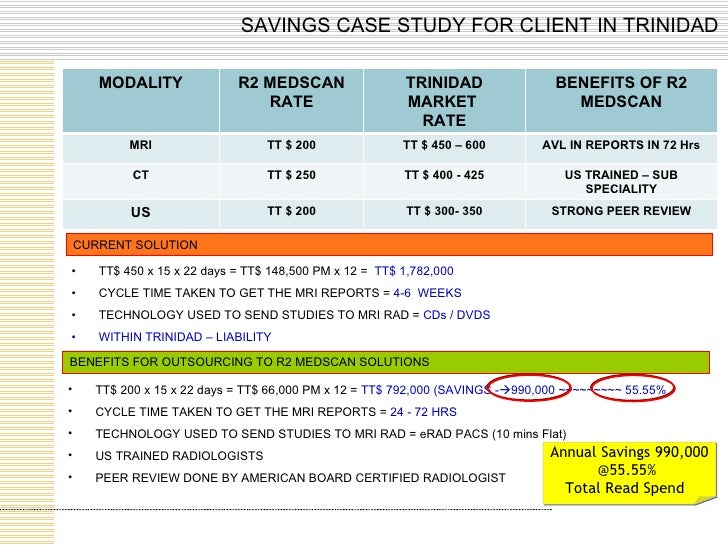 SAVINGS CASE STUDY FOR CLIENT IN TRINIDAD CURRENT SOLUTION BENEFITS FOR OUTSOURCING TO R2 MEDSCAN SOLUTIONS <ul><li>TT$ 45...