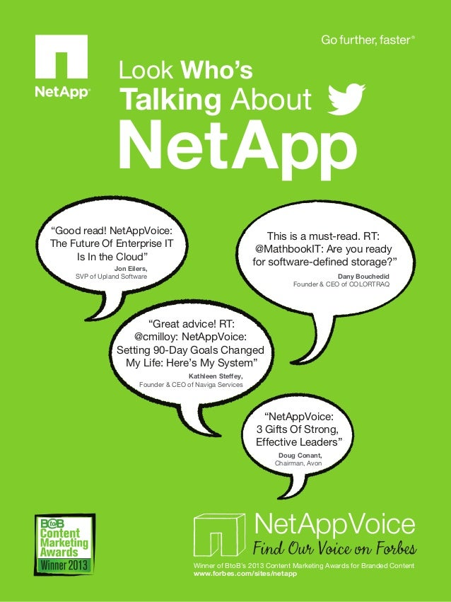 """Look Who's  Talking About  NetApp """"Good read! NetAppVoice: The Future Of Enterprise IT Is In the Cloud""""  This is a must-re..."""