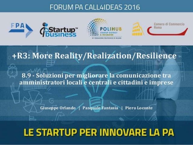 +R3: More Reality/Realization/Resilience Giuseppe Orlando | Pasquale Fantasia | Piero Loconte 8.9 - Soluzioni per migliora...