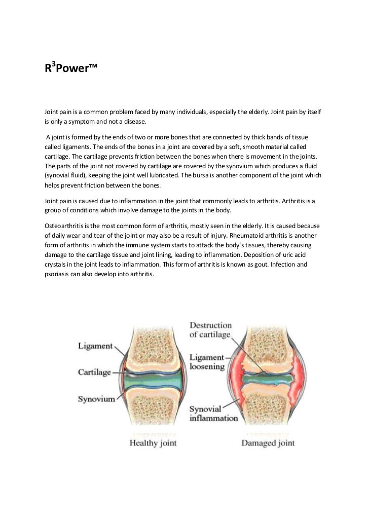 R3Power™Joint pain is a common problem faced by many individuals, especially the elderly. Joint pain by itselfis only a sy...