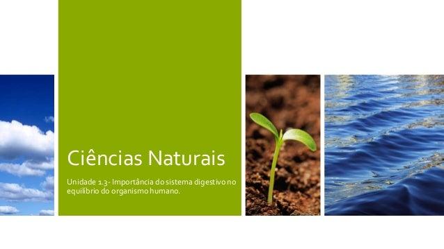 Ciências Naturais Unidade 1.3- Importância do sistema digestivo no equilíbrio do organismo humano.