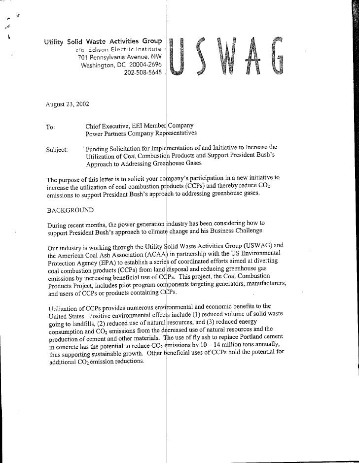 Letter from Utility Solid Waste Actitivy Group 8 23 02