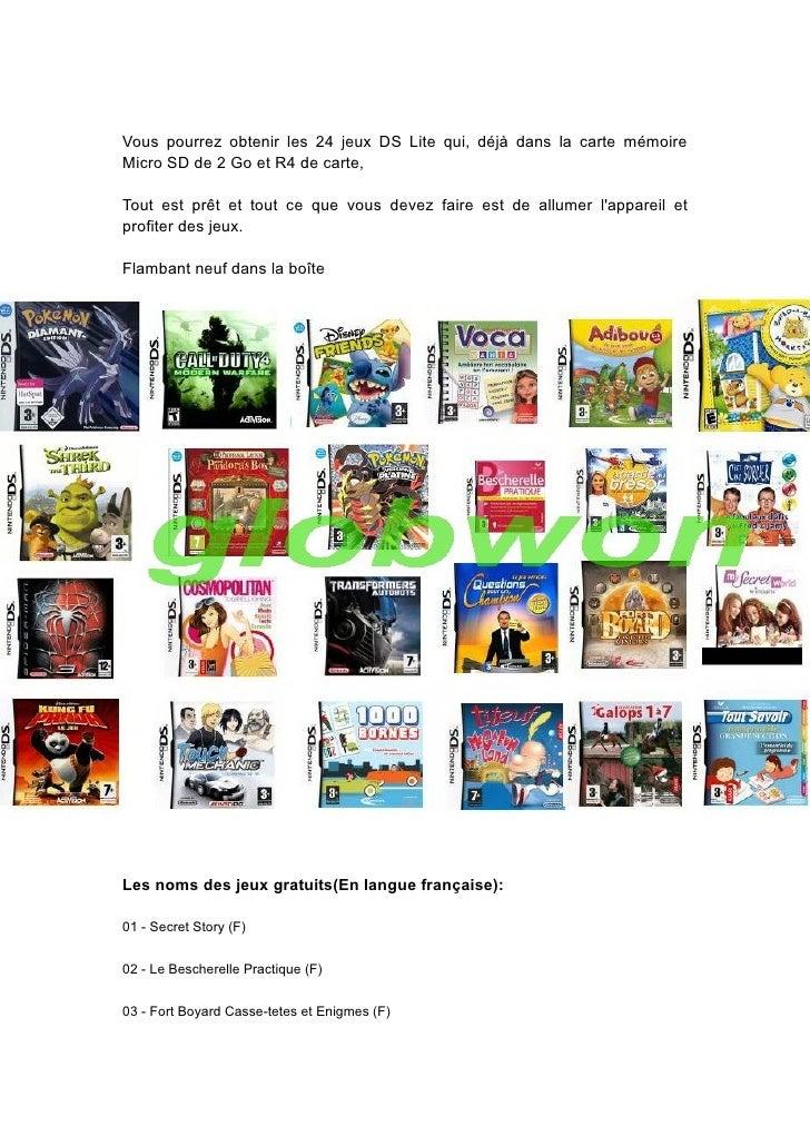 Vous pourrez obtenir les 24 jeux DS Lite qui, déjà dans la carte mémoire Micro SD de 2 Go et R4 de carte,  Tout est prêt e...