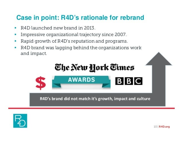 Case in point: R4D's rationale for rebrand  R4D launched new brand in 2013.  Impressive organizational trajectory since ...