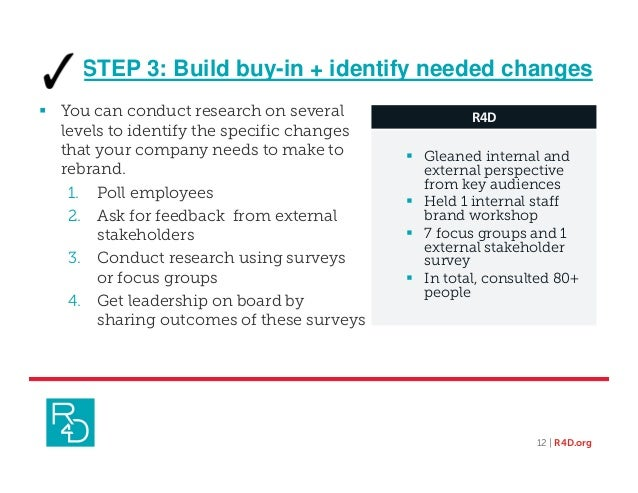 STEP 3: Build buy-in + identify needed changes  You can conduct research on several levels to identify the specific chang...