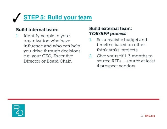 STEP 5: Build your team Build external team: TOR/RFP process 1. Set a realistic budget and timeline based on other think t...