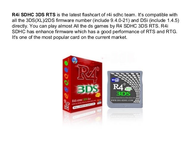 R4i sdhc 3ds rts is the latest flashcart of r4i sdhc team