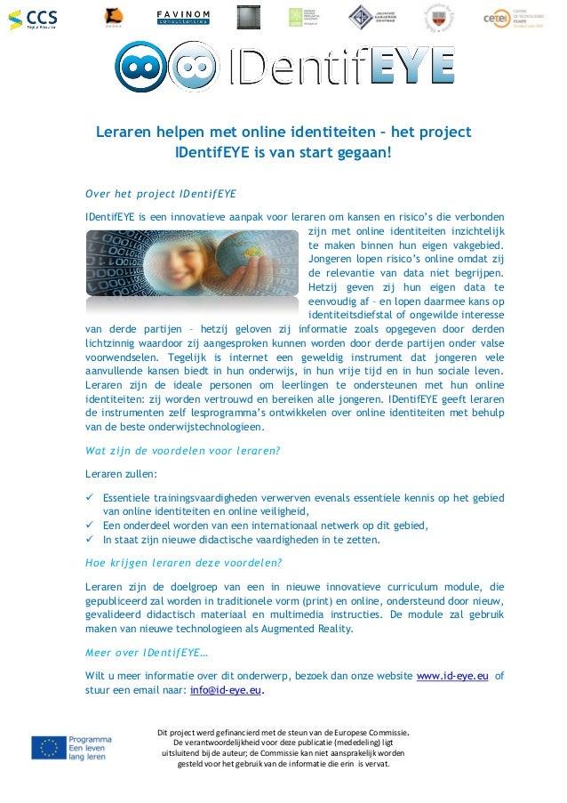 Dit project werd gefinancierd met de steun van de Europese Commissie. De verantwoordelijkheid voor deze publicatie (medede...