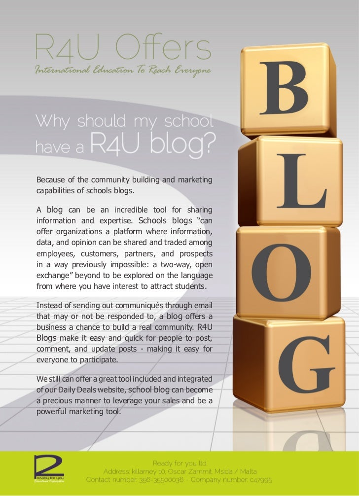 Because of the community building and marketingcapabilities of schools blogs.A blog can be an incredible tool for sharingi...