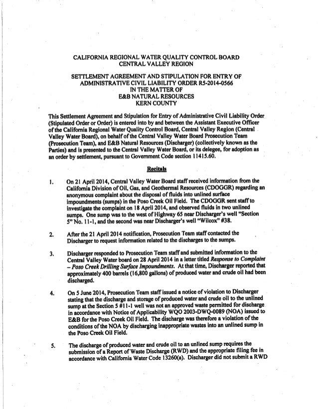 CALlFORNIA REGIONAL WATER QUALITY CONTROL BOARD CENTRAL VALLEY REGION  SETTLEMENT AGREEMENT AND STlPULATlON FOR ENTRY OF A...