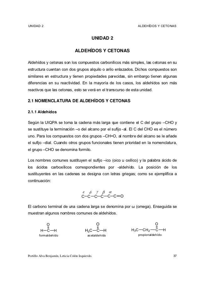 UNIDAD 2                                                             ALDEHÍDOS Y CETONAS                                  ...