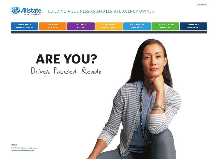Contact us                                    BUILDING A BUSINESS AS AN ALLSTATE AGENCY OWNER        OWN YOUR             ...
