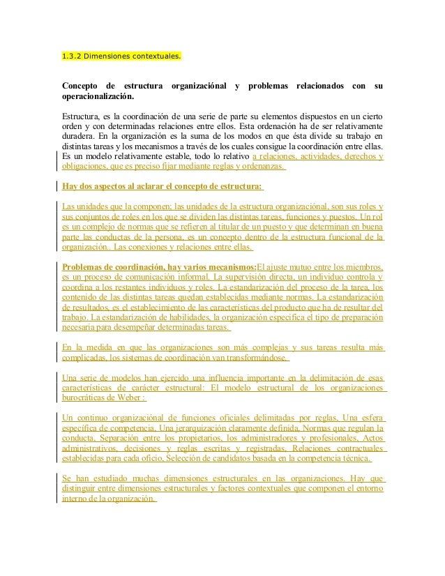 1.3.2 Dimensiones contextuales.Concepto de estructura          organizaciónal     y   problemas     relacionados     con  ...