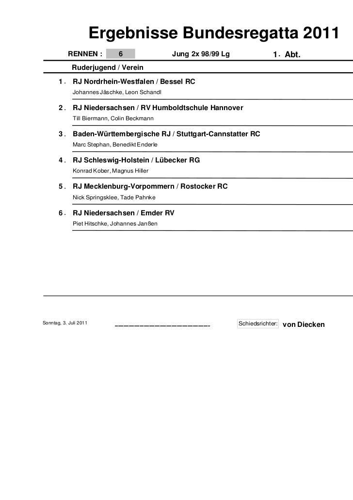 Ergebnisse Bundesregatta 2011            RENNEN :            6                                                 Jung 2x 98/...