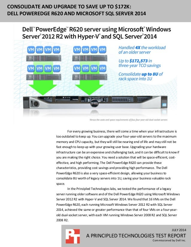 JULY 2014 A PRINCIPLED TECHNOLOGIES TEST REPORT Commissioned by Dell Inc. CONSOLIDATE AND UPGRADE TO SAVE UP TO $172K: DEL...