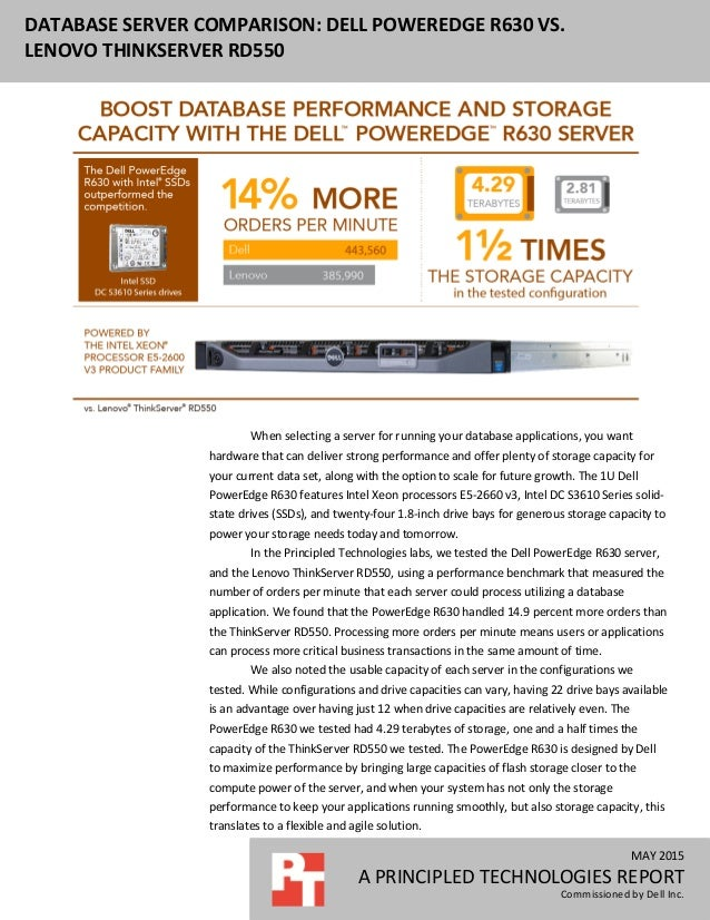 MAY 2015 A PRINCIPLED TECHNOLOGIES REPORT Commissioned by Dell Inc. DATABASE SERVER COMPARISON: DELL POWEREDGE R630 VS. LE...