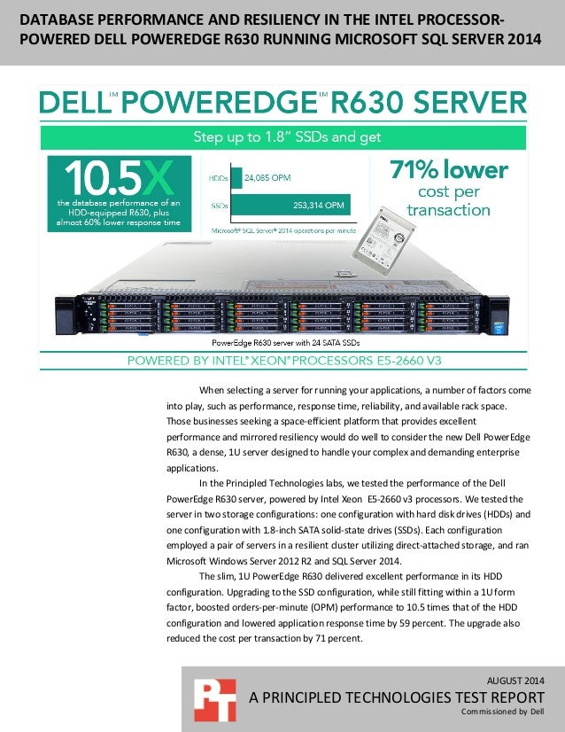 Database performance and resiliency in the Dell PowerEdge