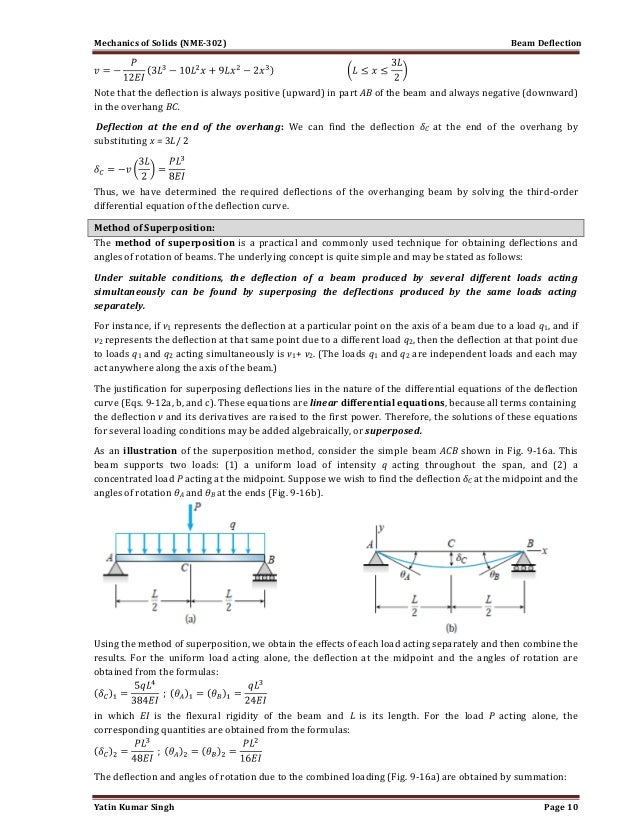 beam deflection 1 1 Deflection formula for continous beam ask question up vote 1 down vote favorite 1 does anyone know how to derive the deflection formula $\delta = \dfrac{-00068wl^4}{ei}$ for a continuous beam spans over 4 supports  help an electrical engineering student with a beam deflection question 1.