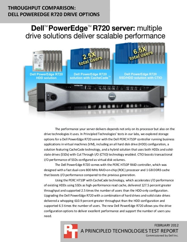 THROUGHPUT COMPARISON:DELL POWEREDGE R720 DRIVE OPTIONS                     The performance your server delivers depends n...