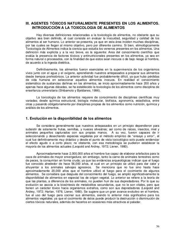 III. AGENTES TÓXICOS NATURALMENTE PRESENTES EN LOS ALIMENTOS.     INTRODUCCIÓN A LA TOXICOLOGIA DE ALIMENTOS         Hay d...