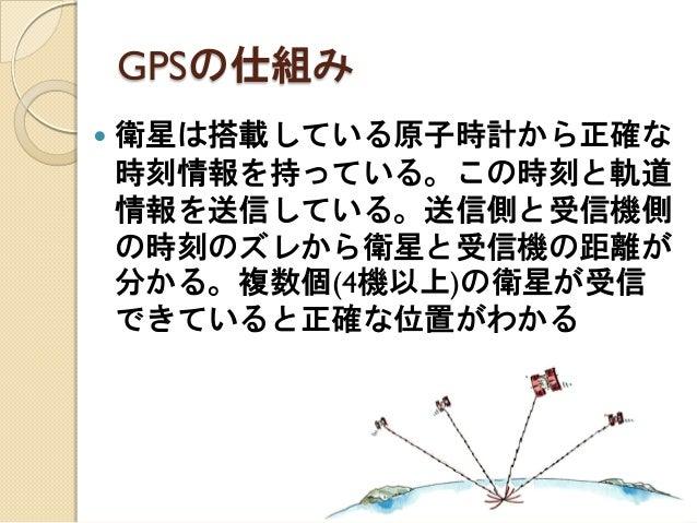 GPSの仕組み  衛星は搭載している原子時計から正確な 時刻情報を持っている。この時刻と軌道 情報を送信している。送信側と受信機側 の時刻のズレから衛星と受信機の距離が 分かる。複数個(4機以上)の衛星が受信 できていると正確な位置がわかる