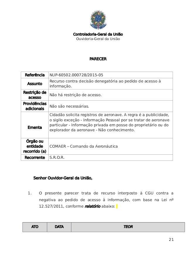 Controladoria-Geral da União Ouvidoria-Geral da União PARECER Referência NUP-60502.000728/2015-05 Assunto Recurso contra d...