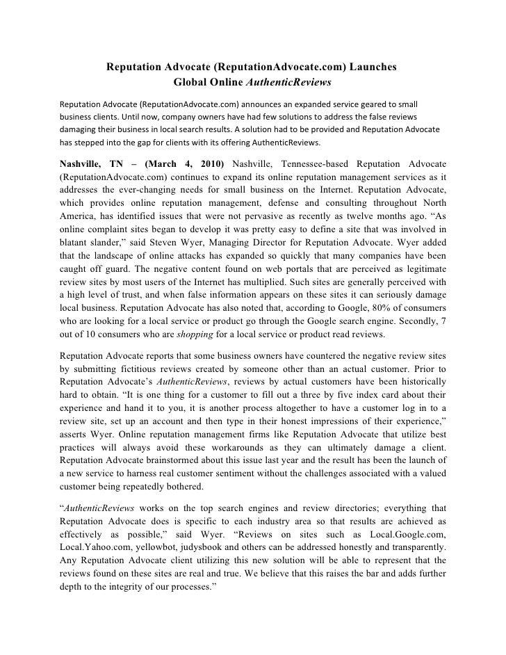 Reputation Advocate (ReputationAdvocate.com) Launches                         Global Online AuthenticReviews Reputation Ad...