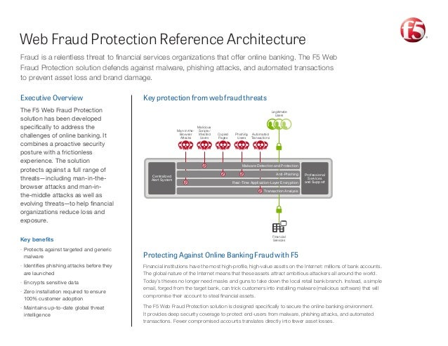 Web Fraud Protection Reference Architecture Protecting Against Online Banking Fraud with F5 Financial institutions have th...