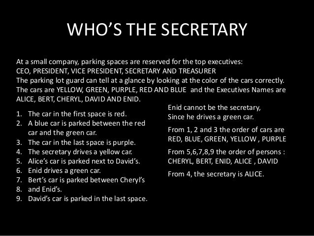 WHO'S THE SECRETARY At a small company, parking spaces are reserved for the top executives: CEO, PRESIDENT, VICE PRESIDENT...
