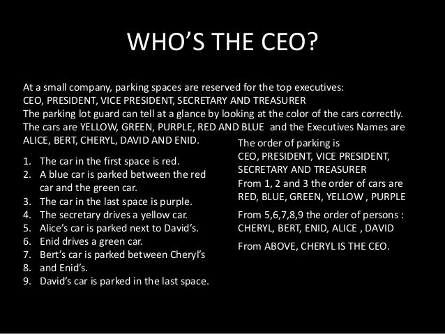 WHO'S THE CEO? At a small company, parking spaces are reserved for the top executives: CEO, PRESIDENT, VICE PRESIDENT, SEC...