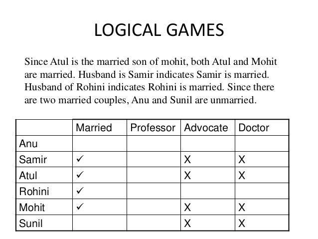 LOGICAL GAMES Married Professor Advocate Doctor Anu Samir  X X Atul  X X Rohini  Mohit  X X Sunil X X Since Atul is th...