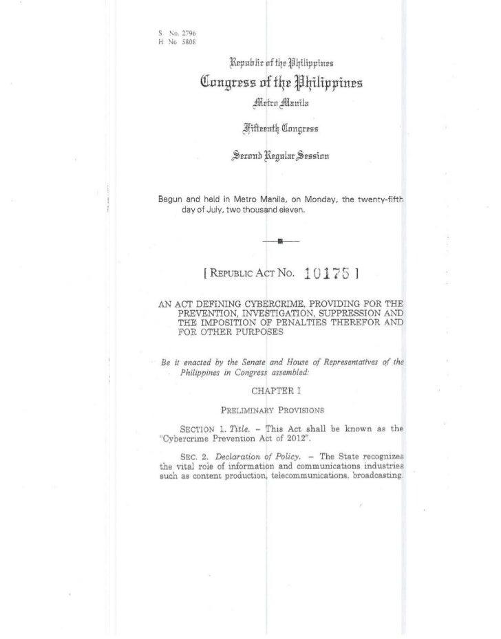 anti cyber crime law r.a. 10175