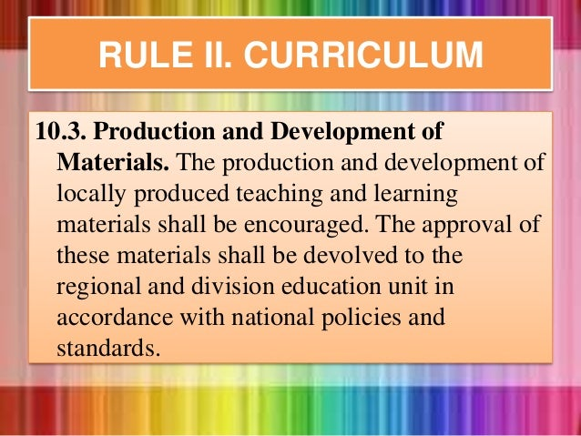 10.3. Production and Development of Materials. The production and development of locally produced teaching and learning ma...