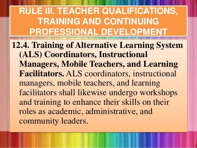12.4. Training of Alternative Learning System (ALS) Coordinators, Instructional Managers, Mobile Teachers, and Learning Fa...