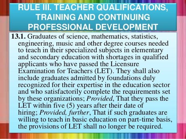 13.1. Graduates of science, mathematics, statistics, engineering, music and other degree courses needed to teach in their ...