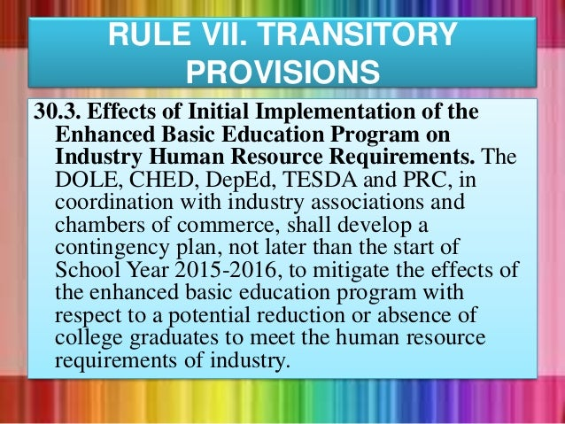 30.3. Effects of Initial Implementation of the Enhanced Basic Education Program on Industry Human Resource Requirements. T...