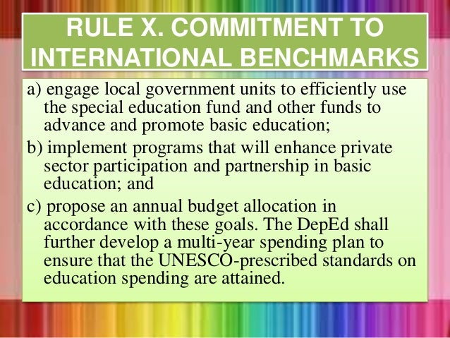 a) engage local government units to efficiently use the special education fund and other funds to advance and promote basi...