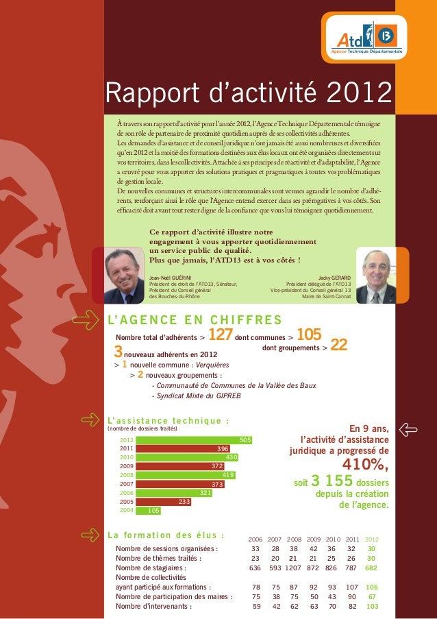 Rapport d'activité 2012 Àtraverssonrapportd'activitépourl'année2012,l'AgenceTechniqueDépartementaletémoigne de son rôle de...
