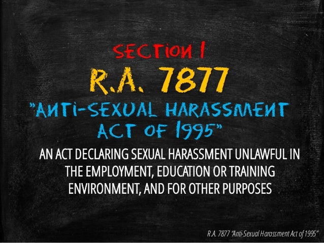 Anti-sexual harassment law ra 7877 summary