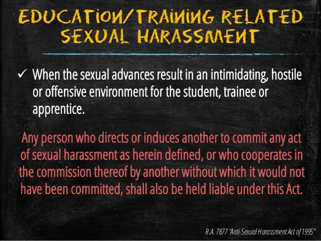 Anti sexual harassment act 1995 philippines country