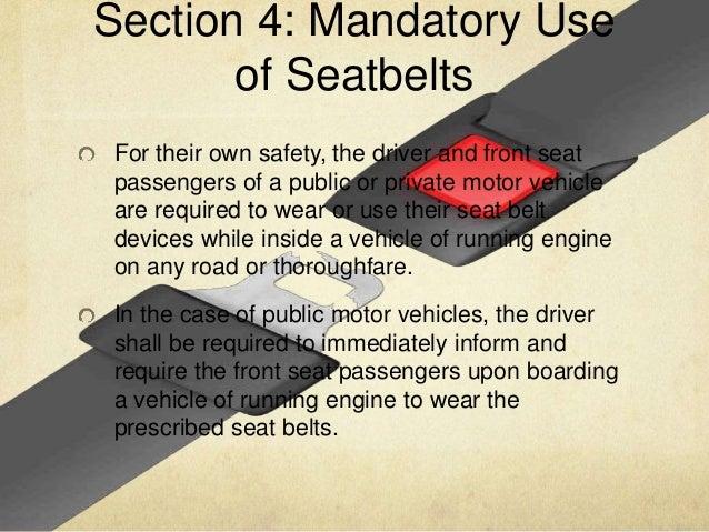 Seat Belt Use Act Of 1999 Ra 8750