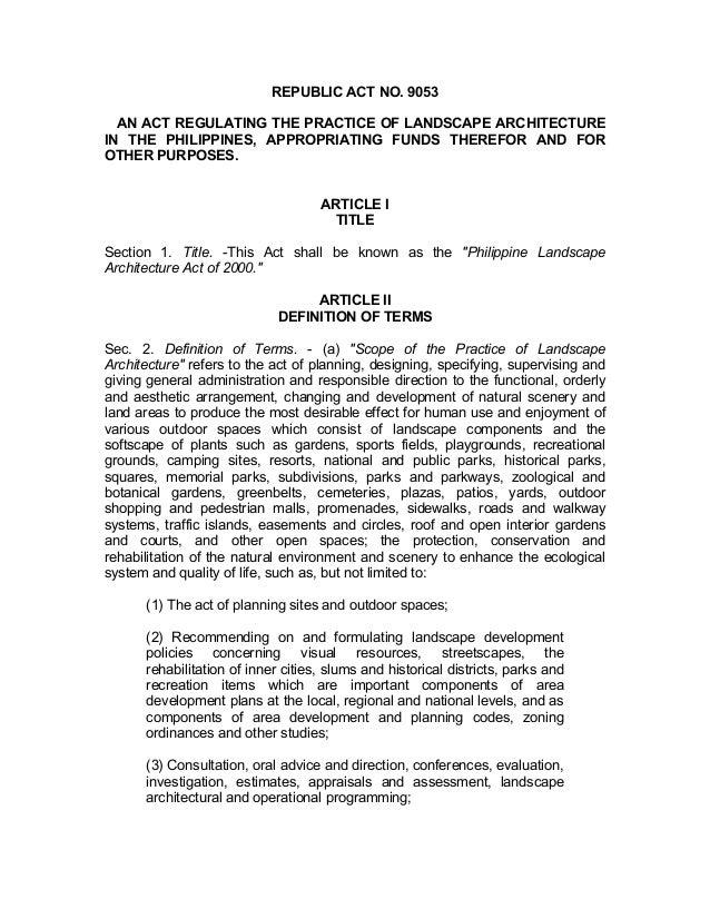 Ra 9053 Landscape Architecture Law