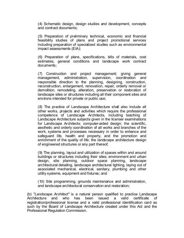 Ra 9053 landscape architecture law for Landscape design contract