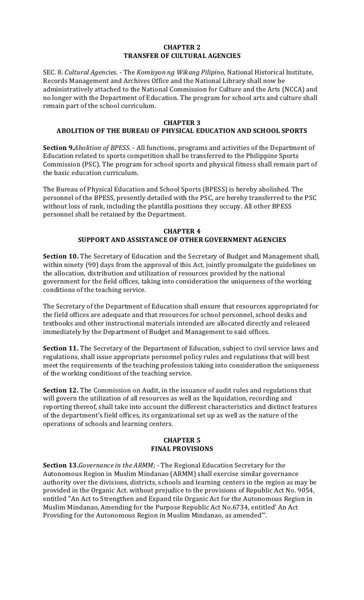 CHAPTER 2                           TRANSFER OF CULTURAL AGENCIESSEC. 8. Cultural Agencies. - The Komisyon ng Wikang Pilip...