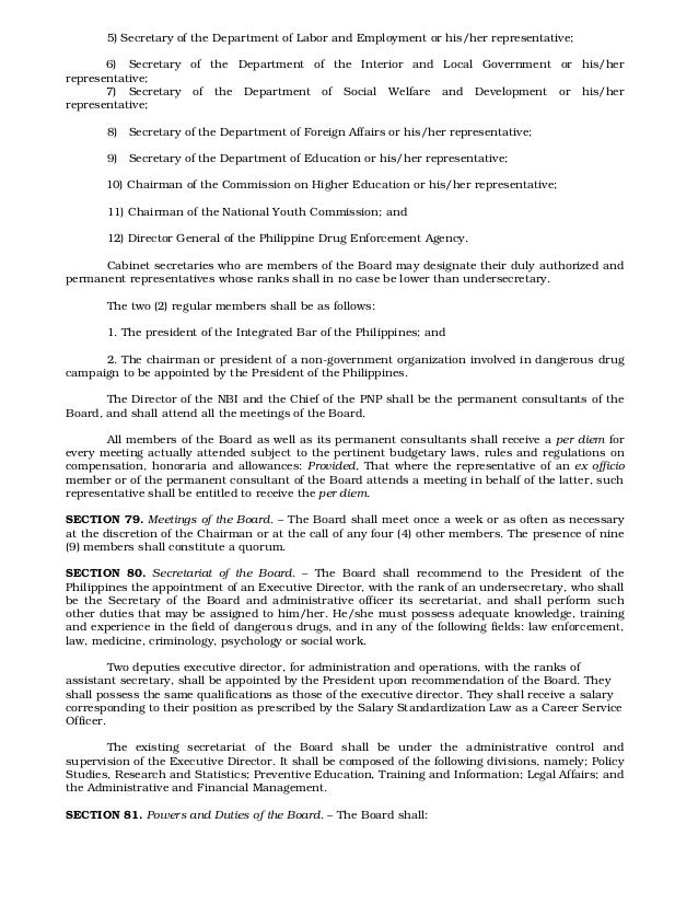 comprehensive dangerous drugs Philippine laws, statutes & codes republic act no 9165  an act instituting the comprehensive dangerous drugs act of 2002, repealing republic act no 6425, otherwise known as the dangerous drugs act of 1972, as amended, providing funds therefor, and for other purposes.
