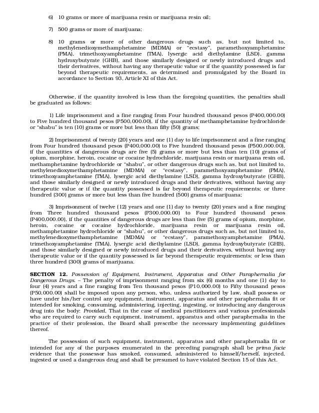 comprehensive dangerous drugs Philippines comprehensive dangerous drugs act of 2002 (republic act no 9165) bibliographic entries texts download.