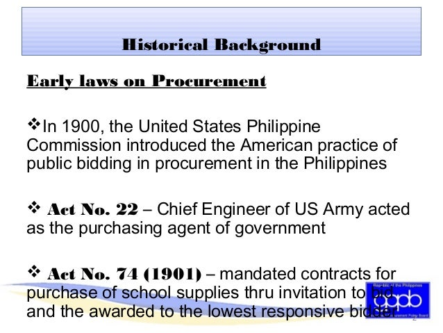ra 9184 To comply fully with ra 9184, every branch or agency of the government through  the head of a procurement entity (hope) forms a bids and.