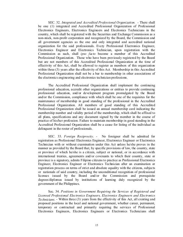 """ra 9292 The republic act 9292 or the electronics engineering act of 2004"""" is an amendment of the previous ra 5734 the new law has brought about debates from ece students and professionals from the electronics industry."""